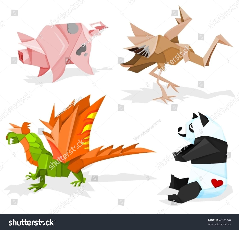 Funny Paper Animals, Origami Stock Vector Illustration ... - photo#29