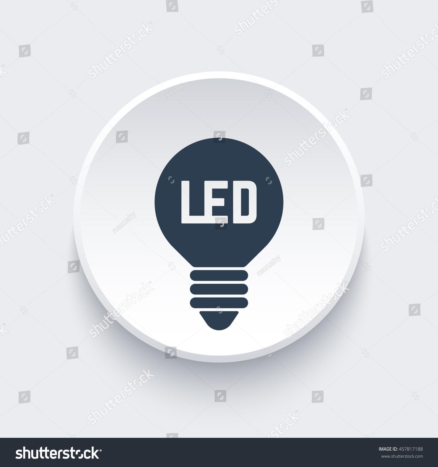 Led Light Bulb Icon On Round Stock Vector 457817188 Shutterstock