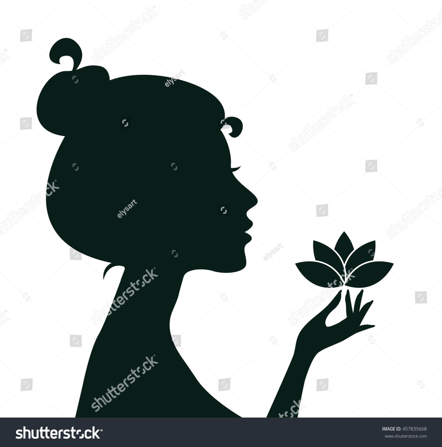 Silhouette Young Woman Holding Lotus Flower Stock Vector Royalty