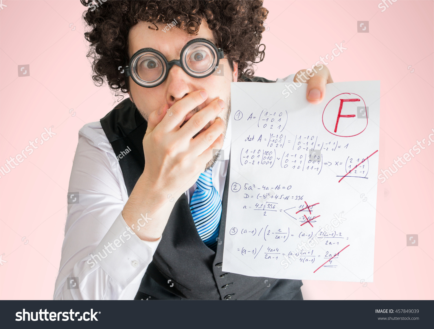 Unsuccessful Student Showing Math Exam Bad Stock Photo (Royalty Free ...
