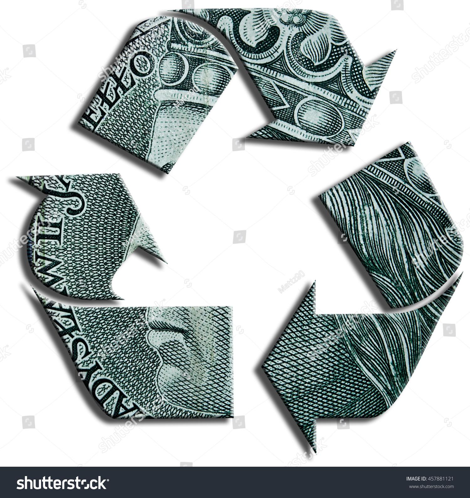Recycling Symbol 100 Polish Zloty Texture Stock Illustration