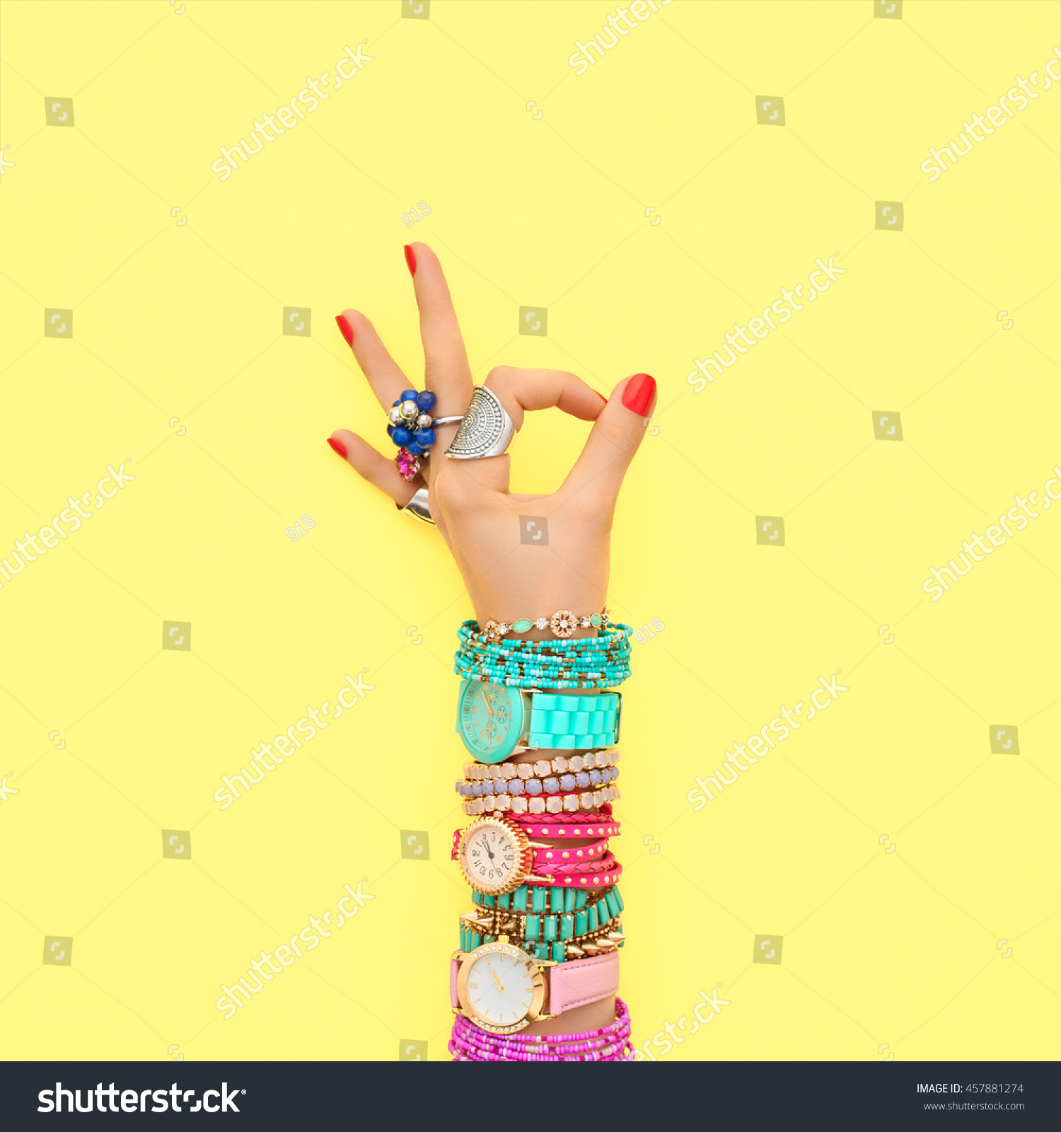 Fashion Accessories Fashion Set Female Hand Stock Photo 457881274 ...