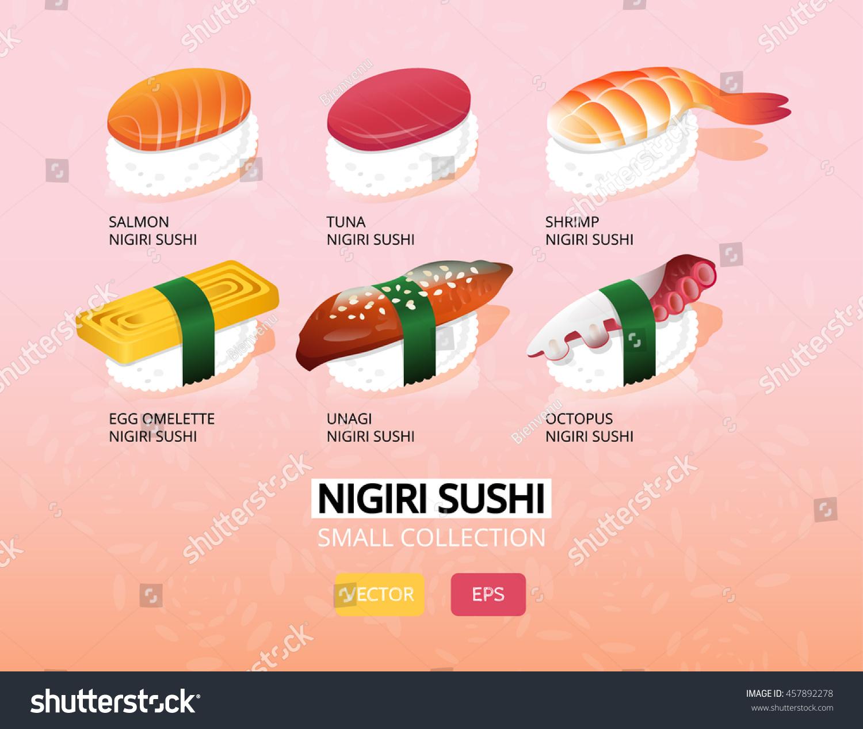 vector illustration nigiri sushi set japanese stock vector (royalty
