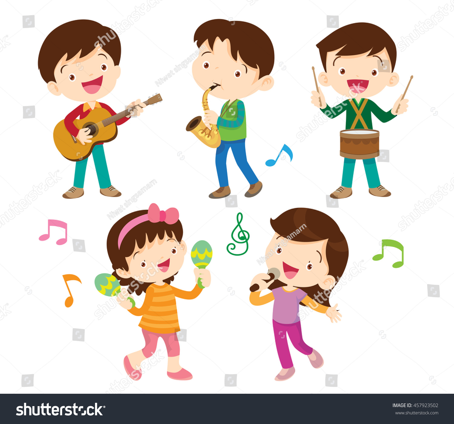 Illustrator Vector Children Groupcartoon Dancing Kids Stock Vector