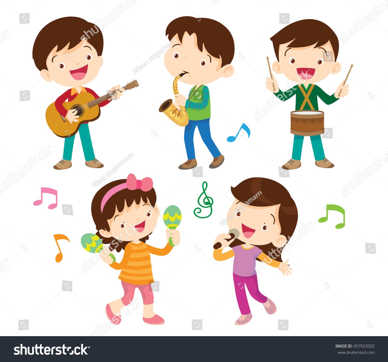 Illustrator Vector Children Groupcartoon Dancing Kids Stock Vector