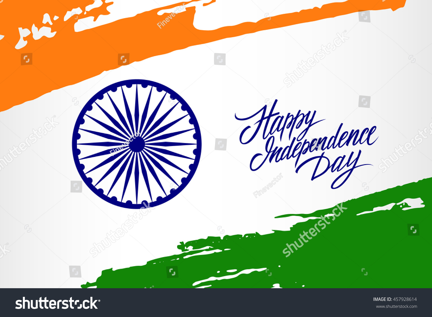 Colors website ashoka - Indian Independence Day Greeting Card With Ashoka Wheel And Brush Strokes In National Flag Colors