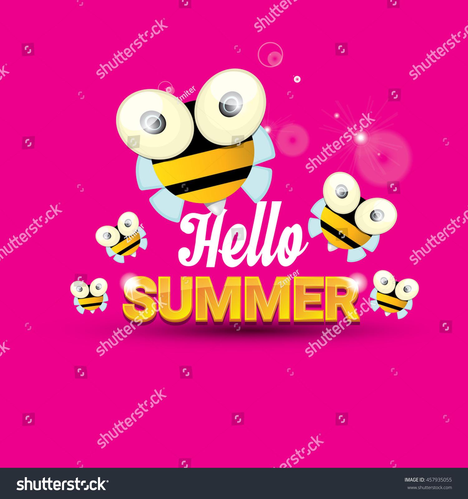 Hello Summer Vector Background Baby Bee Stock Vector 457935055 - Shutterstock