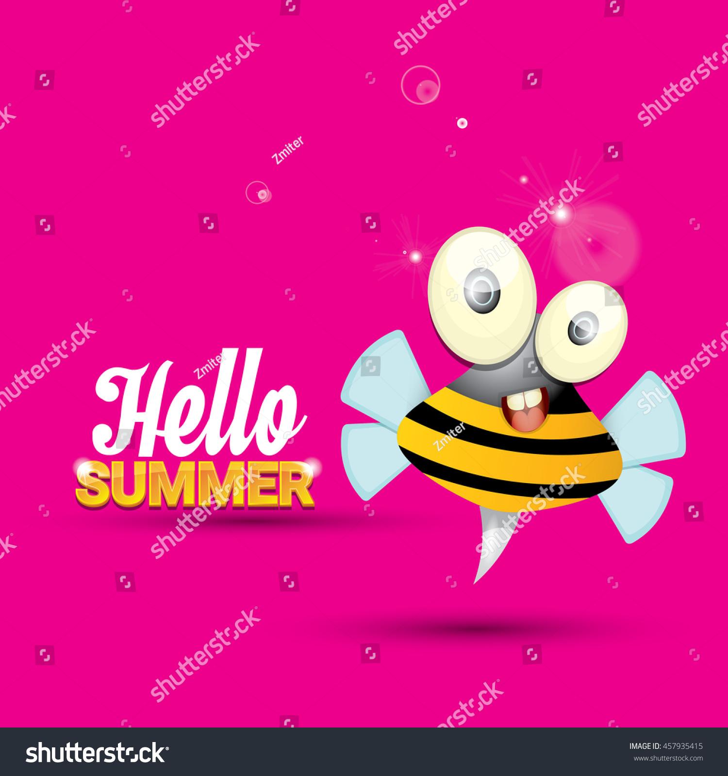 Hello Summer Vector Background Baby Bee Stock Vector 457935415 - Shutterstock