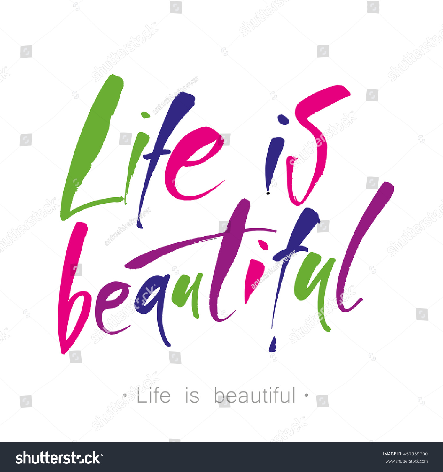Life Beautiful Calligraphy Phrase Greetings Cards Stock Vector