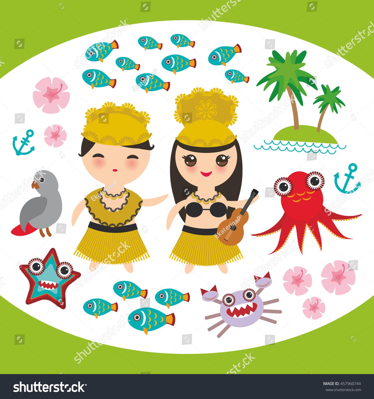 Card Design Hawaiian Hula Dancer Kawaii Stock Vector