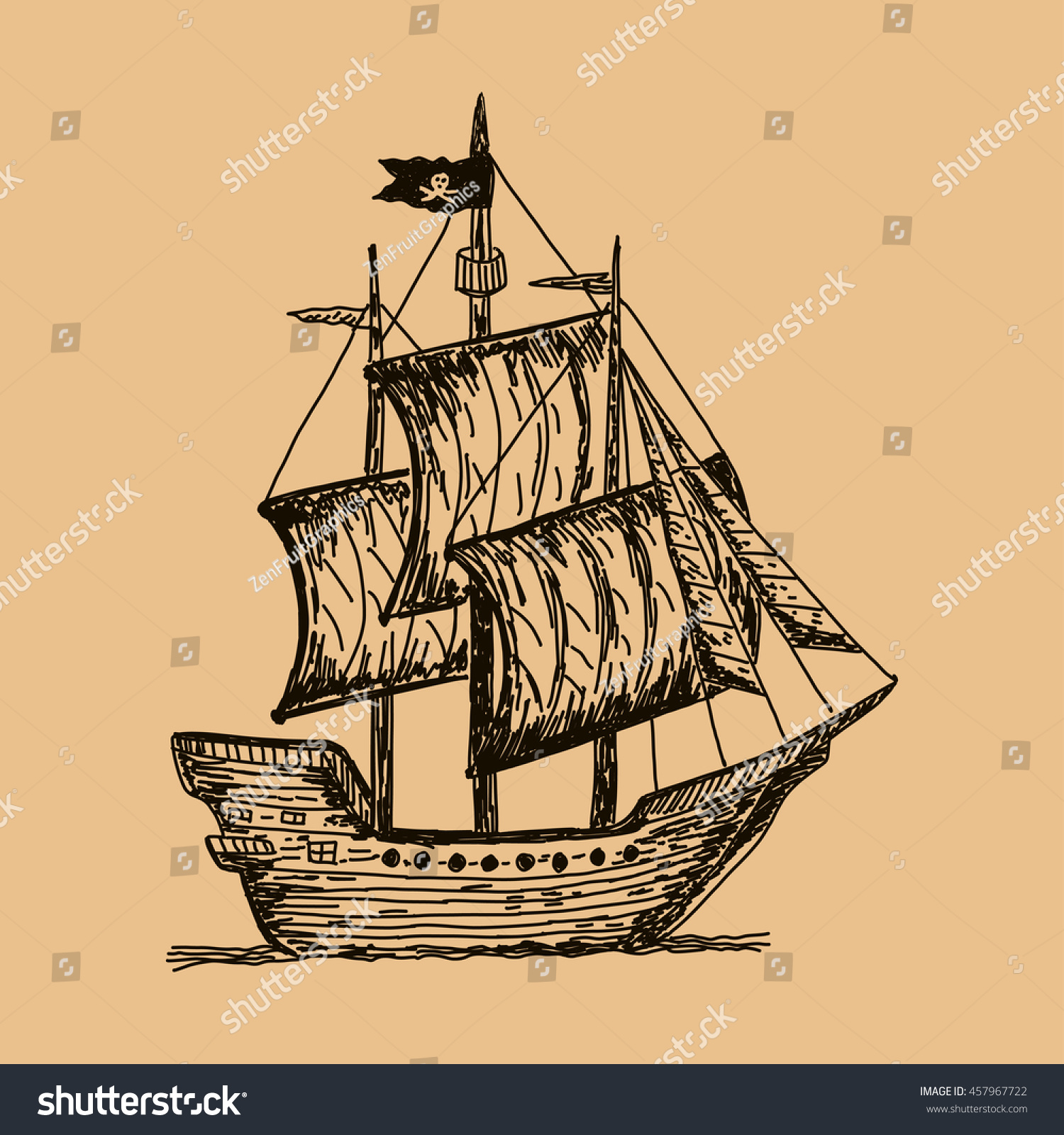 how to draw a old pirate ship