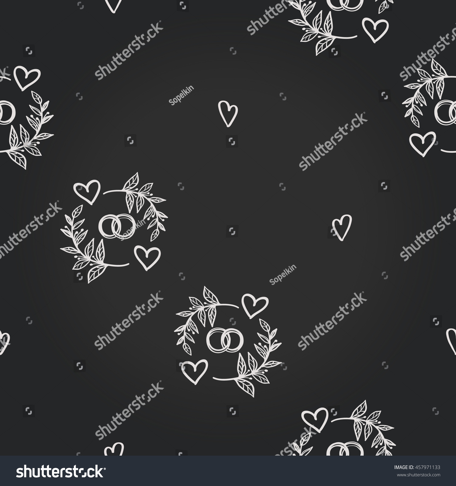 Background For Eco Forest Wedding Or Autumn Celebrations Floral Rustic Symbols And Elements In Chalkboard Hand Drawing Style Vector: Drawn Chalkboard Wedding Ring At Reisefeber.org