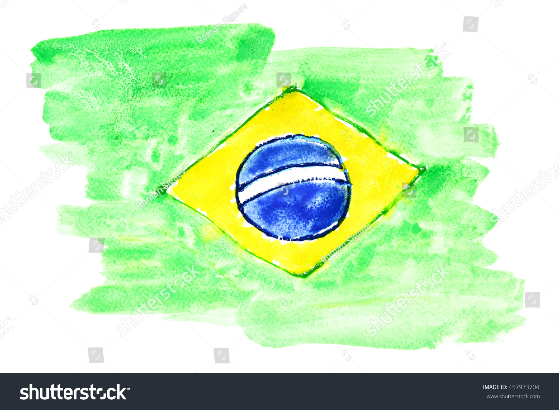 Handmade watercolor brazil flag brasil stock photos freeimages com - Watercolor Flag Of Brazil Primitive