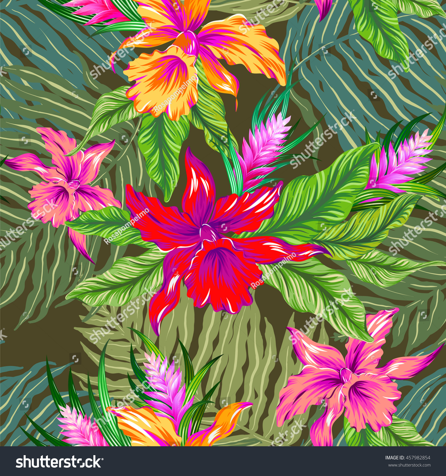 Very Colorful Vector Hawaiian Pattern Seamless Stock Vector ...