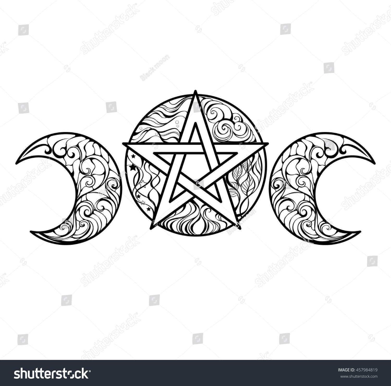Colour Line Art Design : Pentagram magic elements line art design stock vector