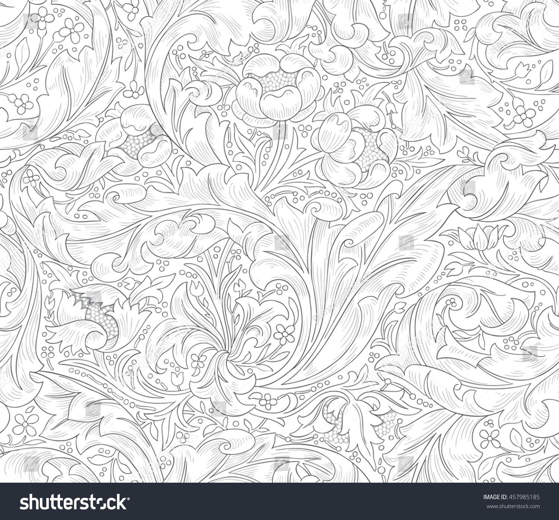 Seamless Design Coloring Book Wallpaper Textile Stock Vector ...