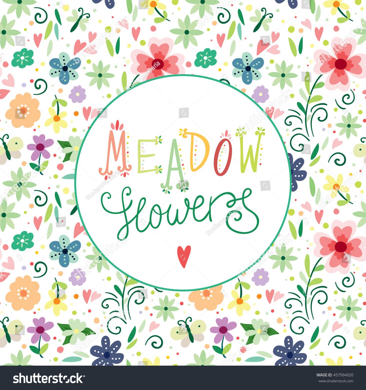 Vector Flower Illustration Seamless Botanic Texture Detailed
