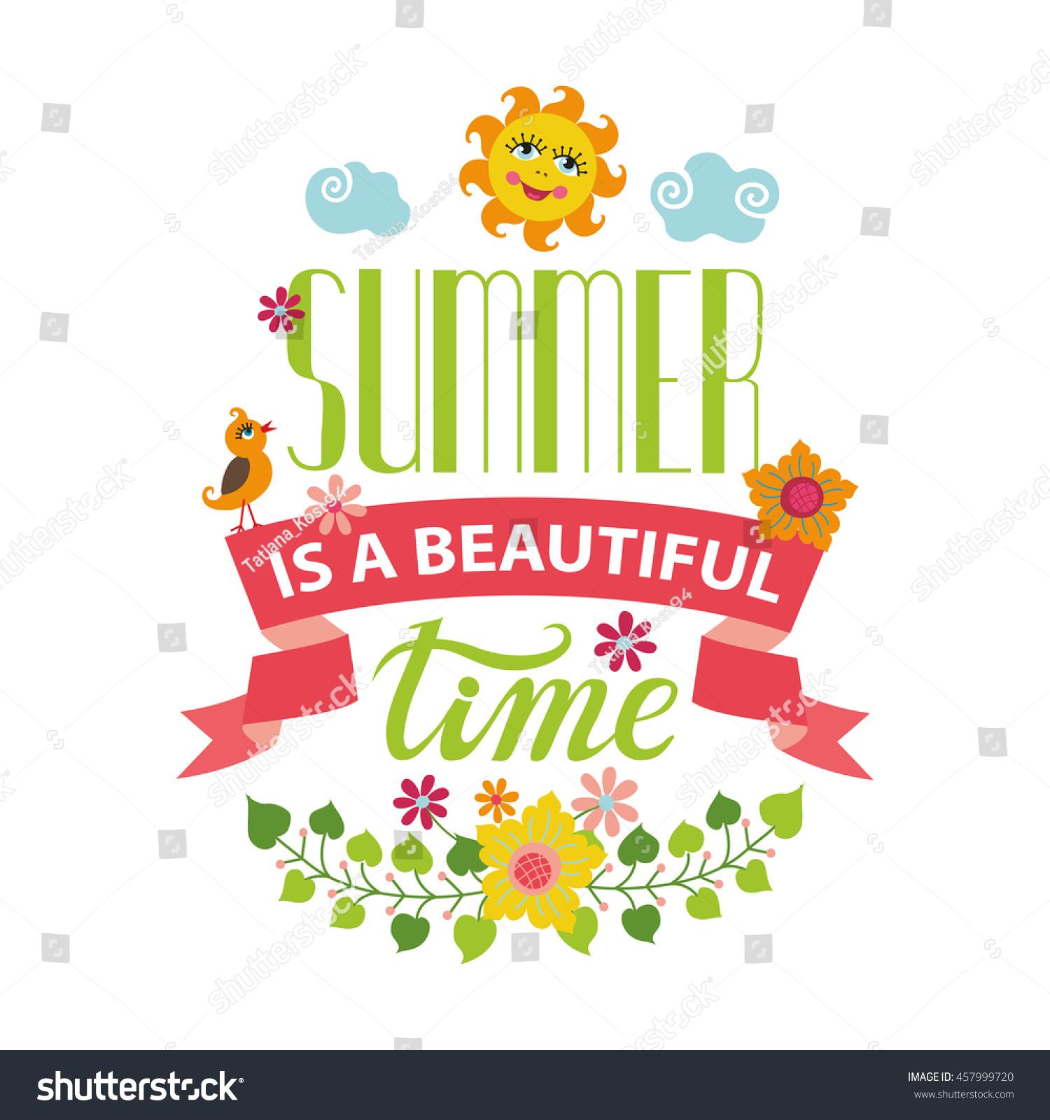 Summer Season Cardposter Flat Title Hello Summer Cartoon Stock