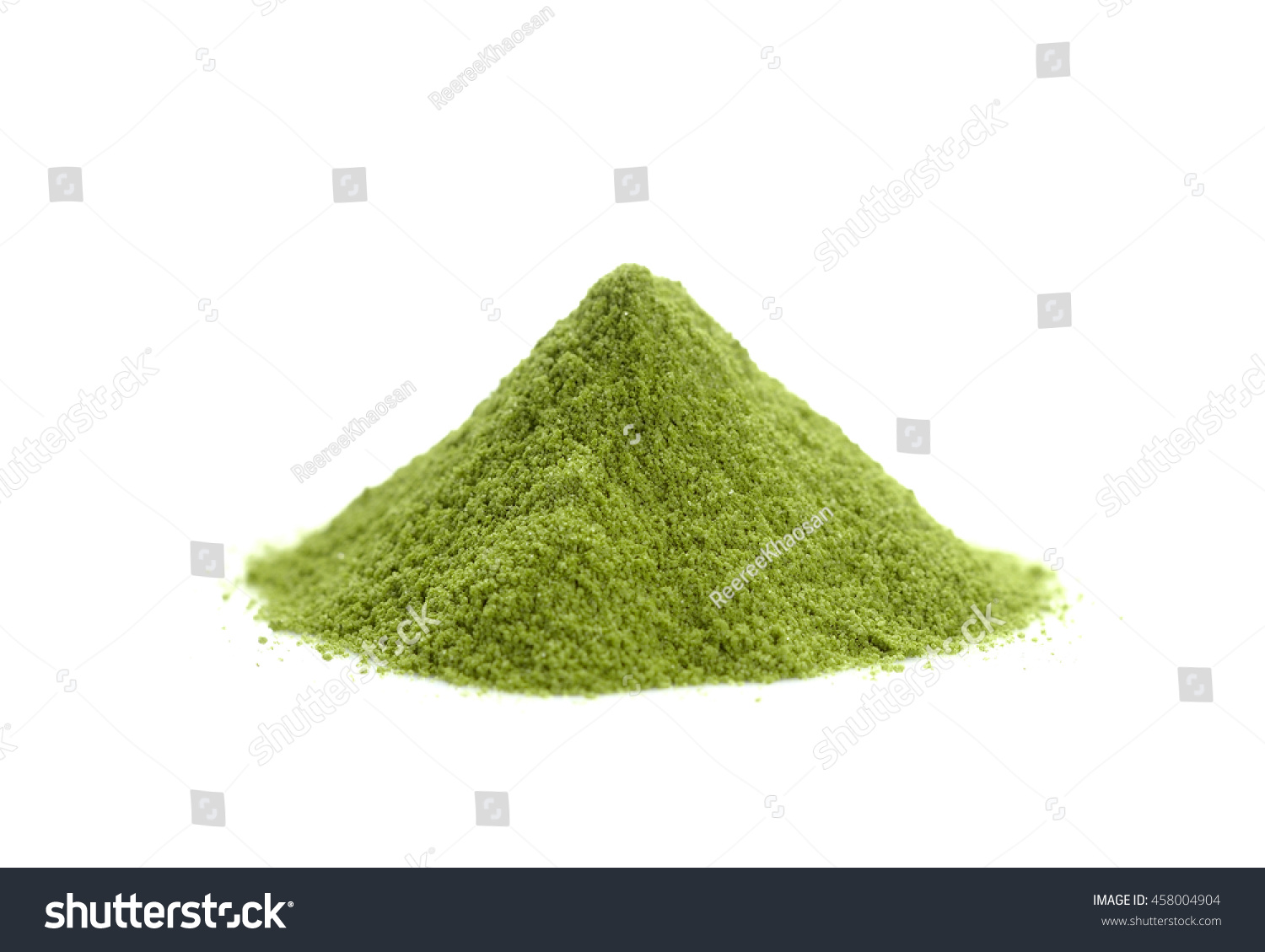 powdered hill green tea green powder heap isolated on white background