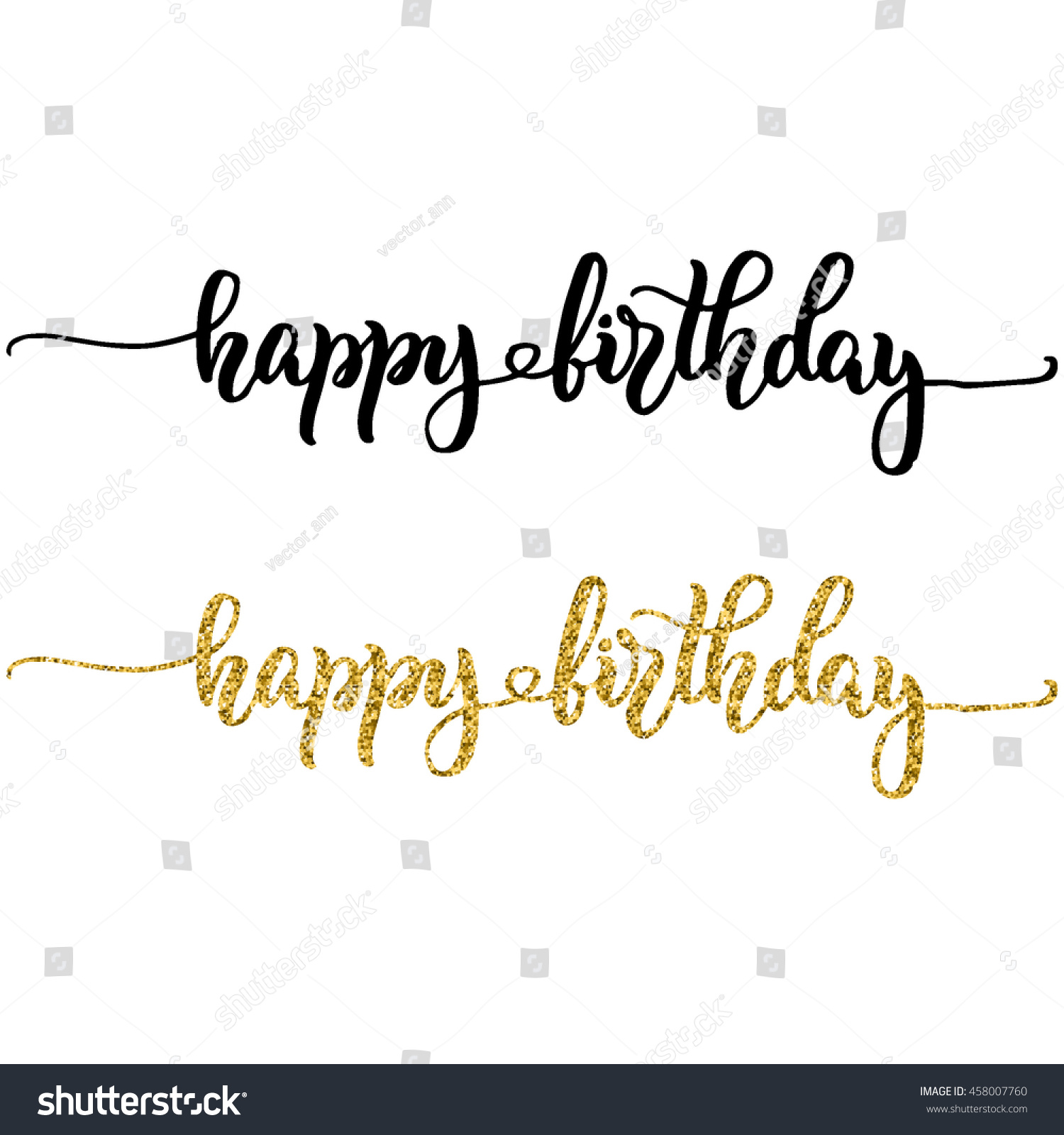 happy birthday hand lettering lettering happy birthday black ink stock vector 11662