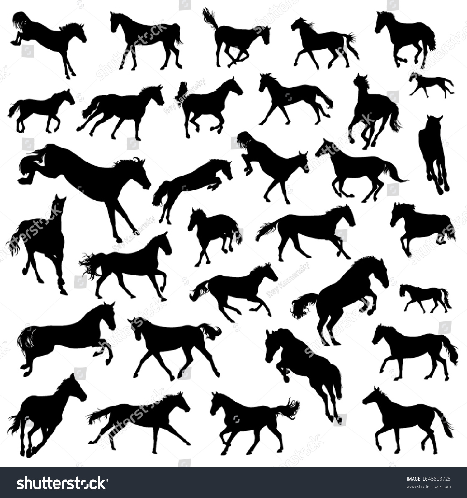 Running Horses Silhouette Wall Border Stock Vector Collection Of Silhouettes Of Galloping Horses