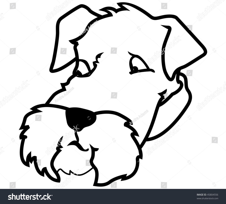 Schnauzer Drawing Easy: Cartoon Vector Outline Illustration Schnauzer Dog Stock