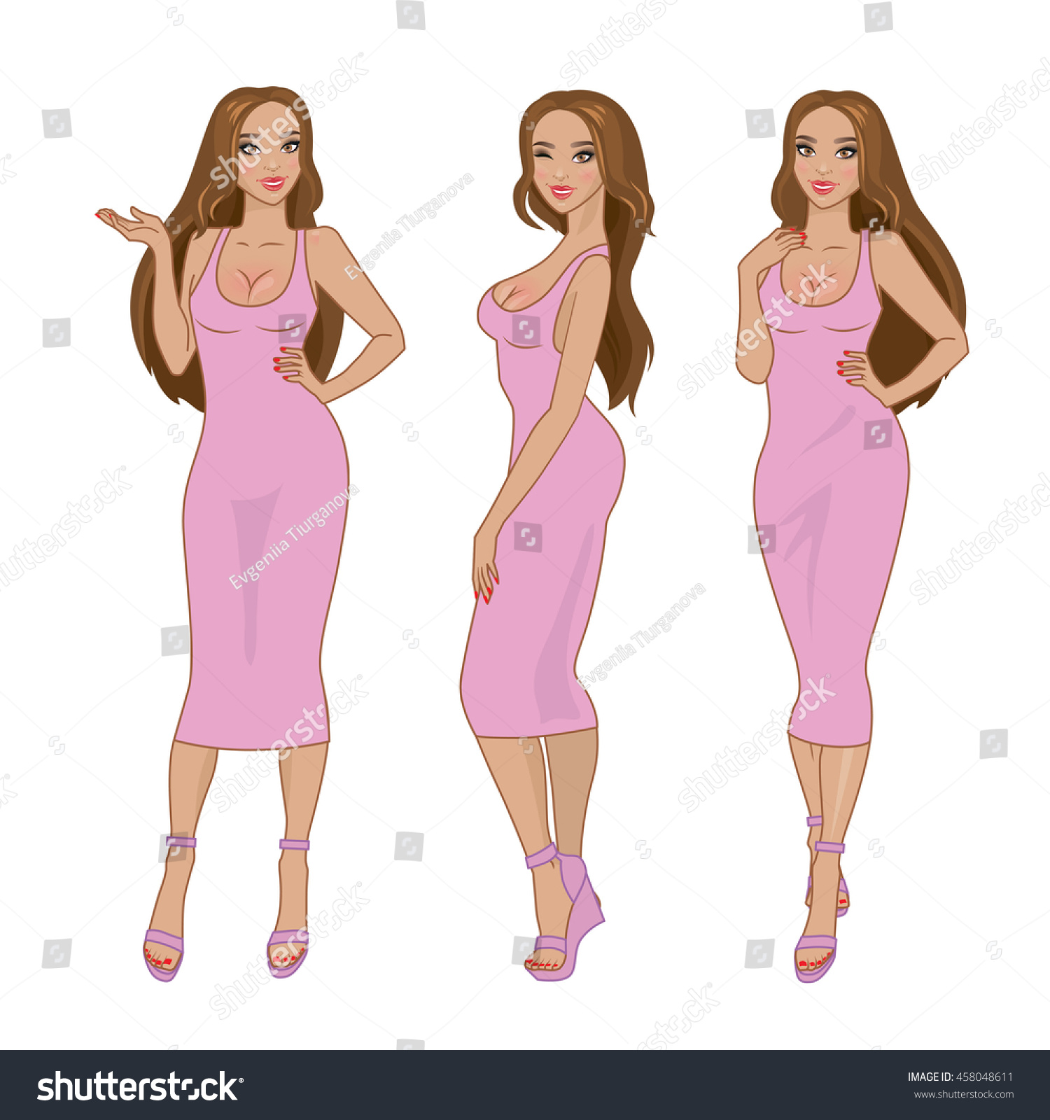 e18b823a5c71 Vector sexy brown-haired girl in pink tight dress. Full body full-length