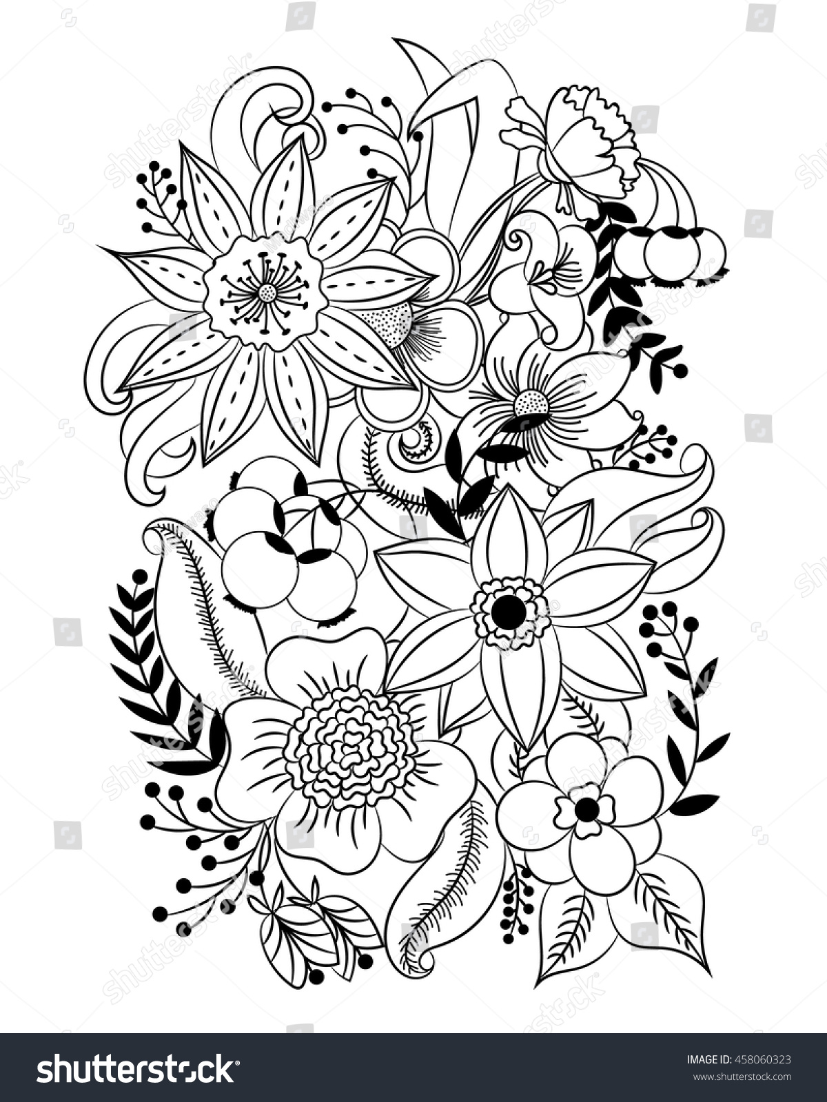 Coloring Page Flowers Leaves Vector Pattern Stock Vector 458060323 ...