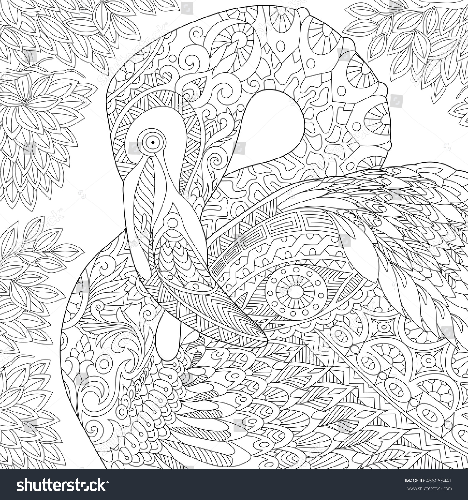 Coloring sheets for adults flamingo - Stylized Flamingo Bird Among Jungle Foliage Freehand Sketch For Adult Anti Stress Coloring Book Page