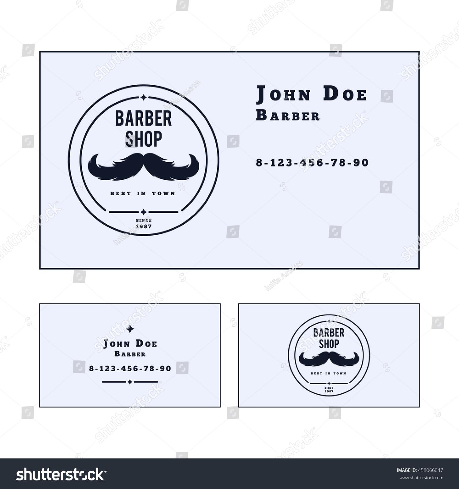 Vector Business Card Template Barber Shop Stock Vector 458066047 ...
