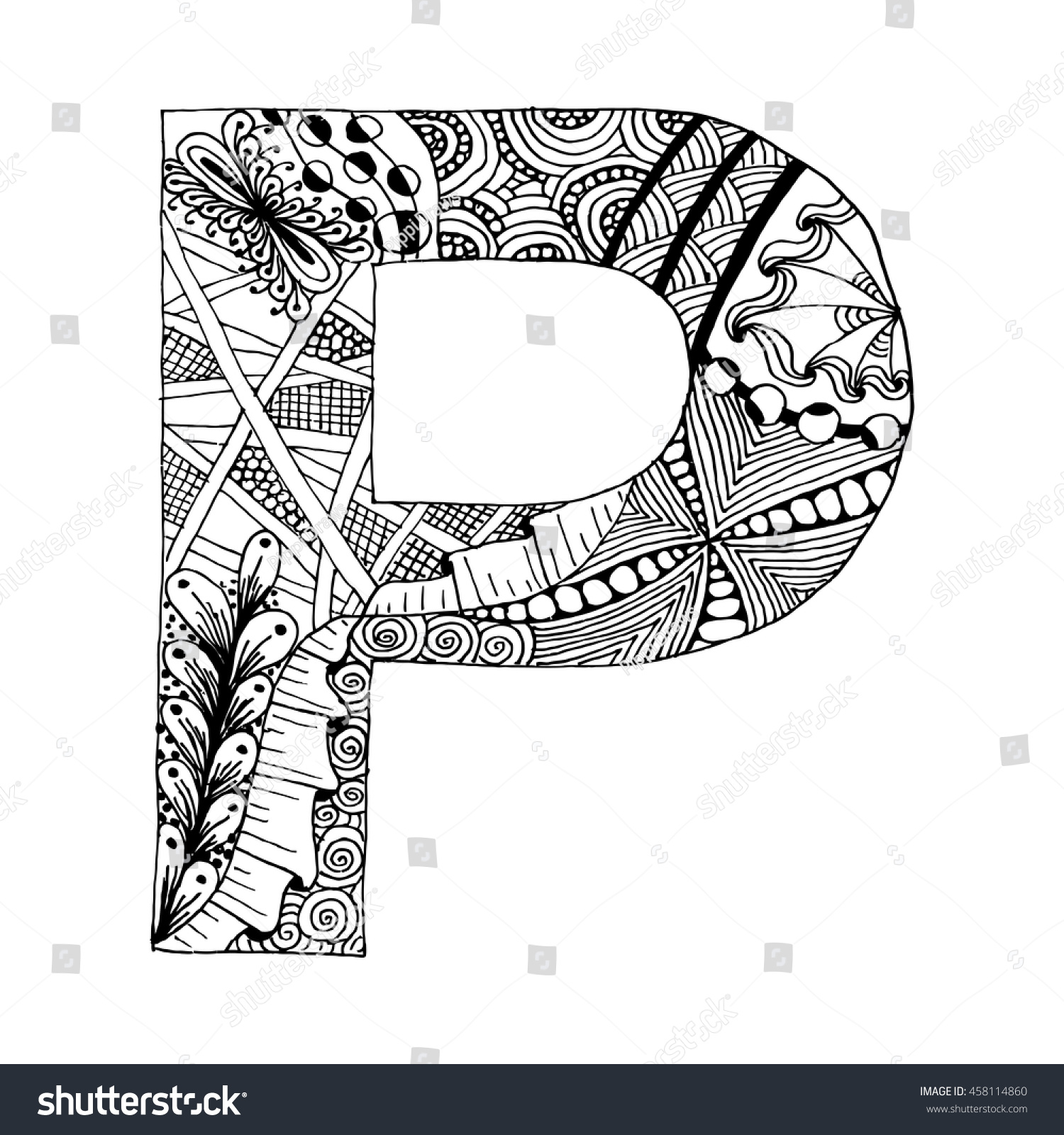 zentangle stylized alphabet letter p doodle stock vector 458114860