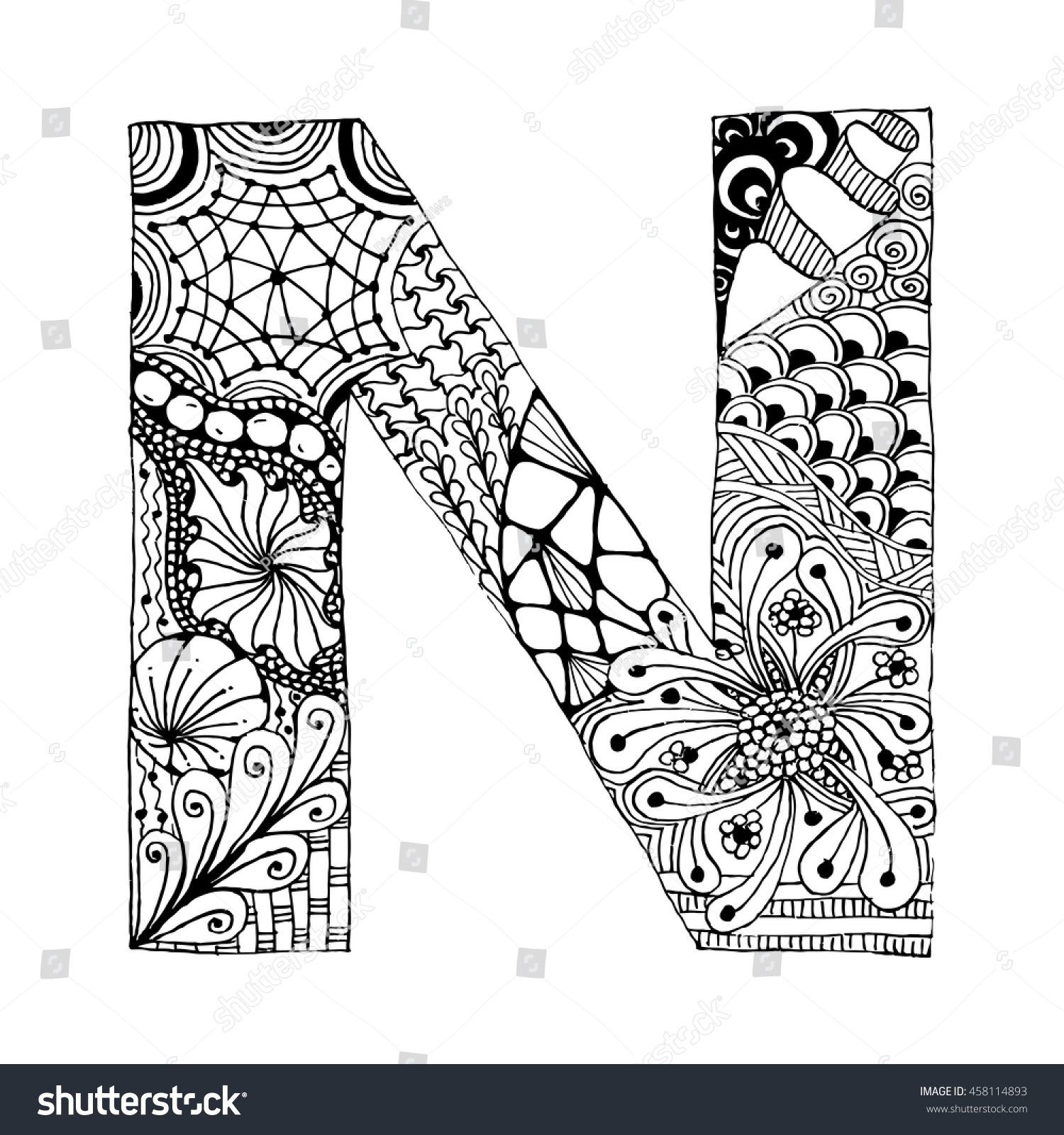 zentangle stylized alphabet letter n doodle stock vector 458114893