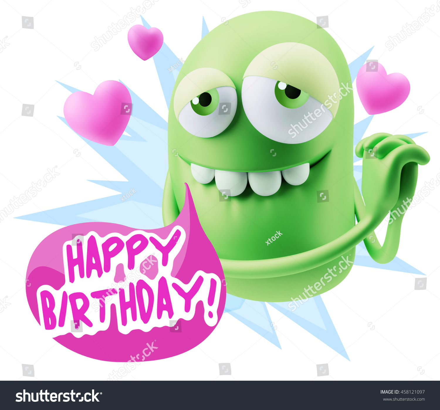 Emoji Saying Happy Birthday With Colorful Speech Bubble