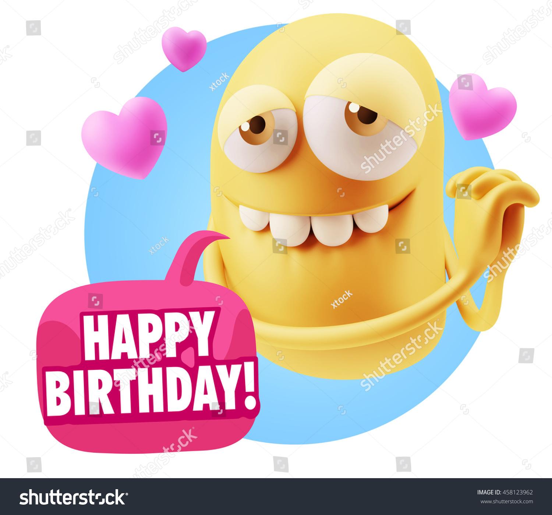 3 D Rendering Emoji Saying Happy Birthday Stock Illustration