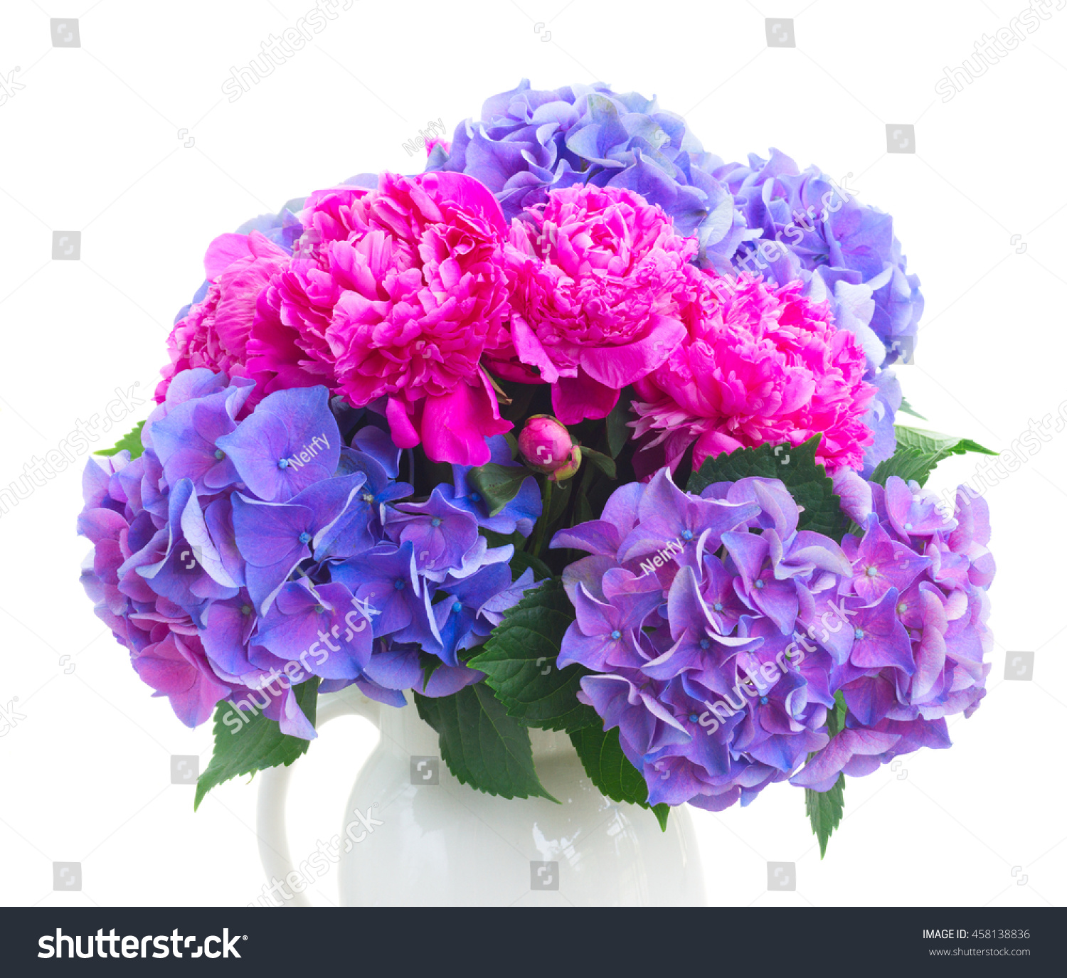 Bright pink peony eustoma and blue hortensia fresh flowers bouquet id 458138836 izmirmasajfo