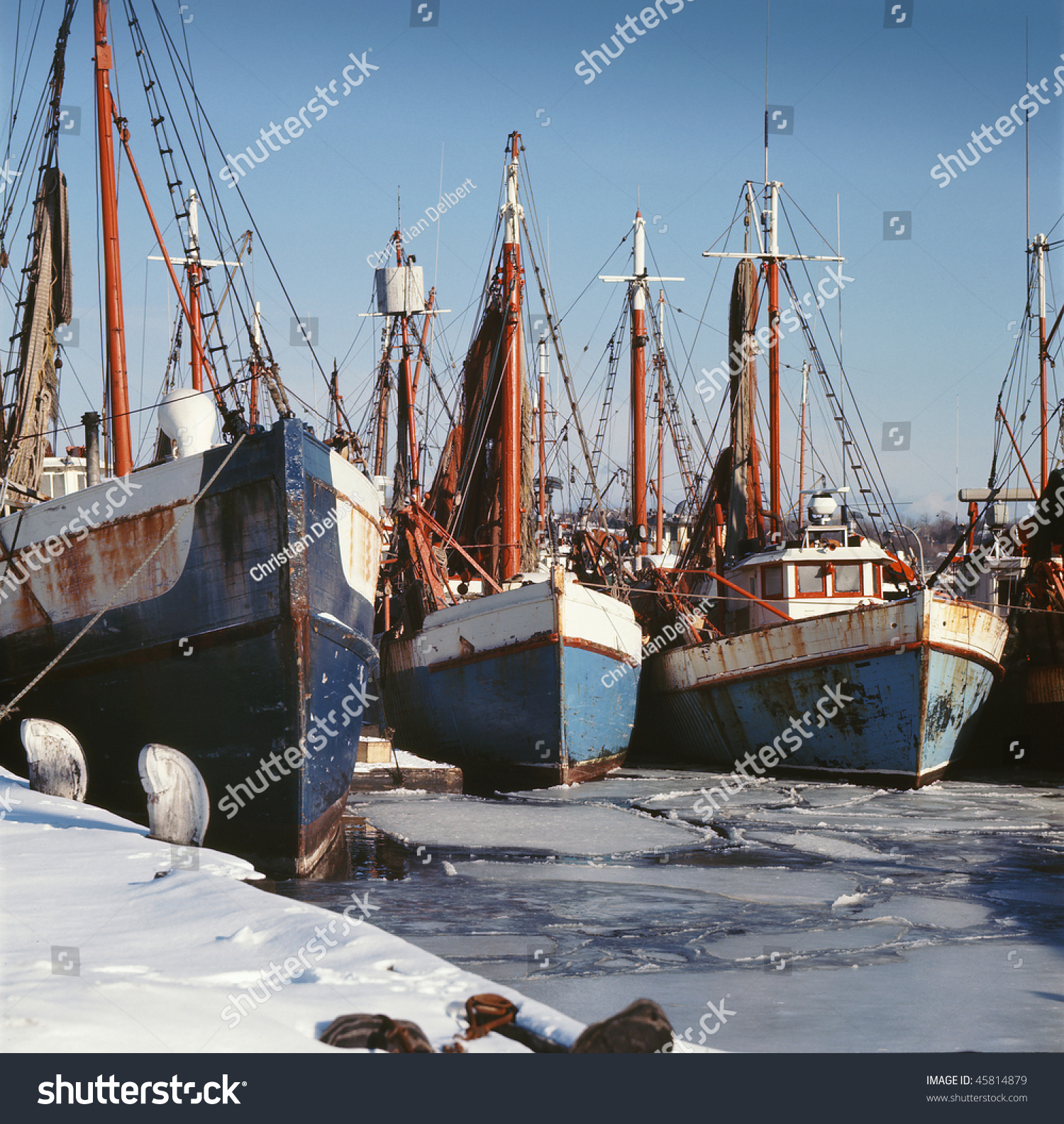 Fishing boats ice bound gloucester harbor stock photo for Gloucester ma fishing