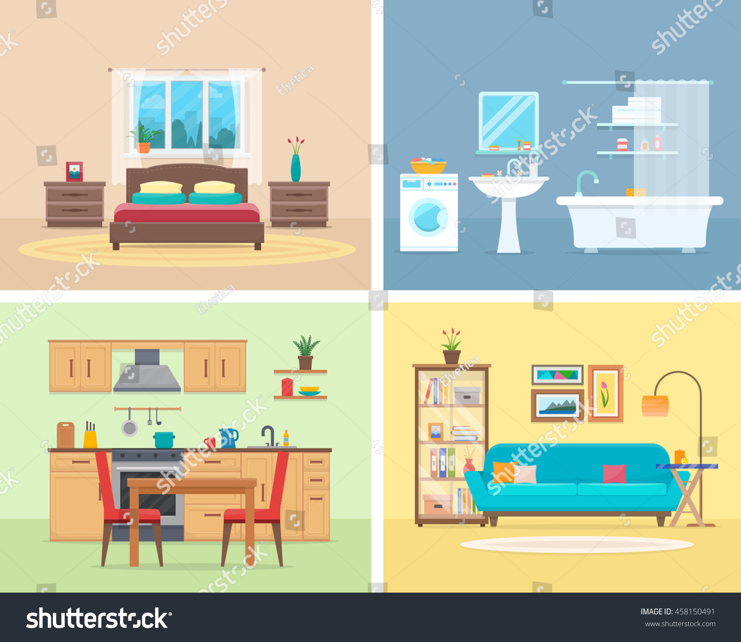 Interior Of Modern Living Room In Flat Design Stock Vector: Apartment Inside Detailed Modern House Interior Stock