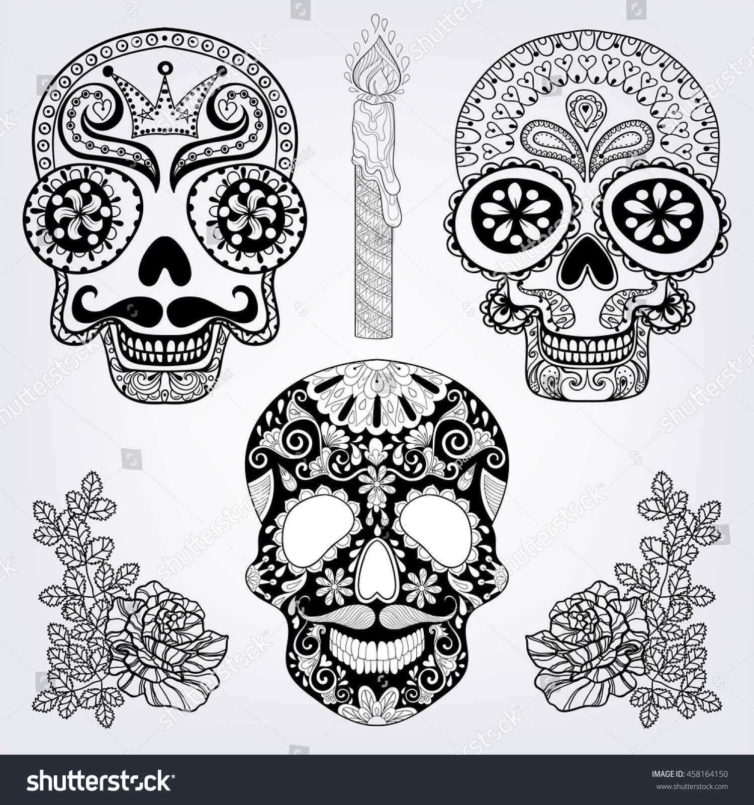 Zentangle stylized patterned Skulls set, candle, roses for Halloween ...