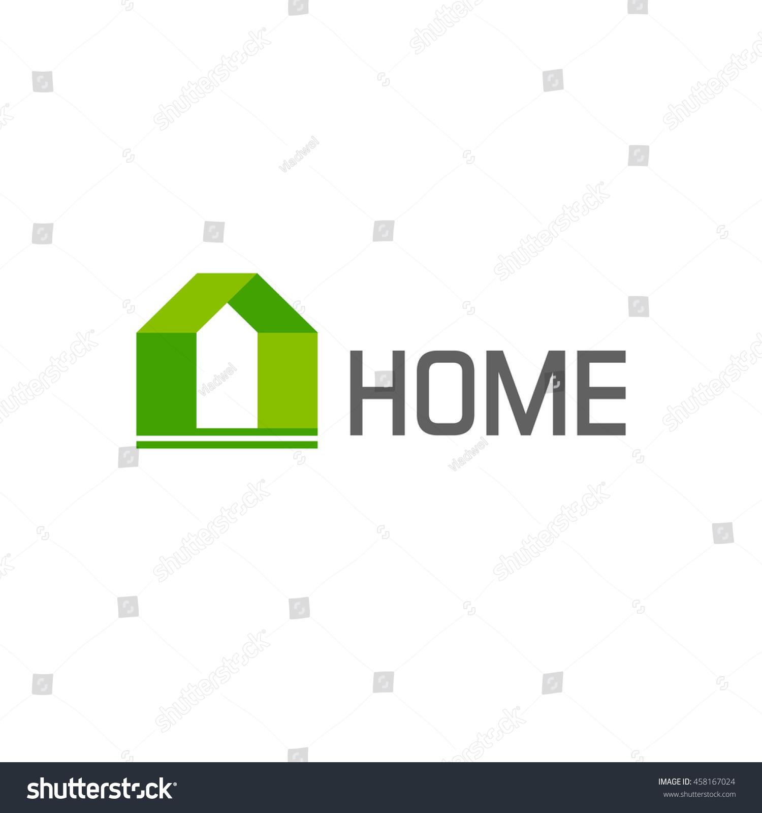 Eco Friendly Construction Green House Logo Design Elements Isolated Stock Illustration