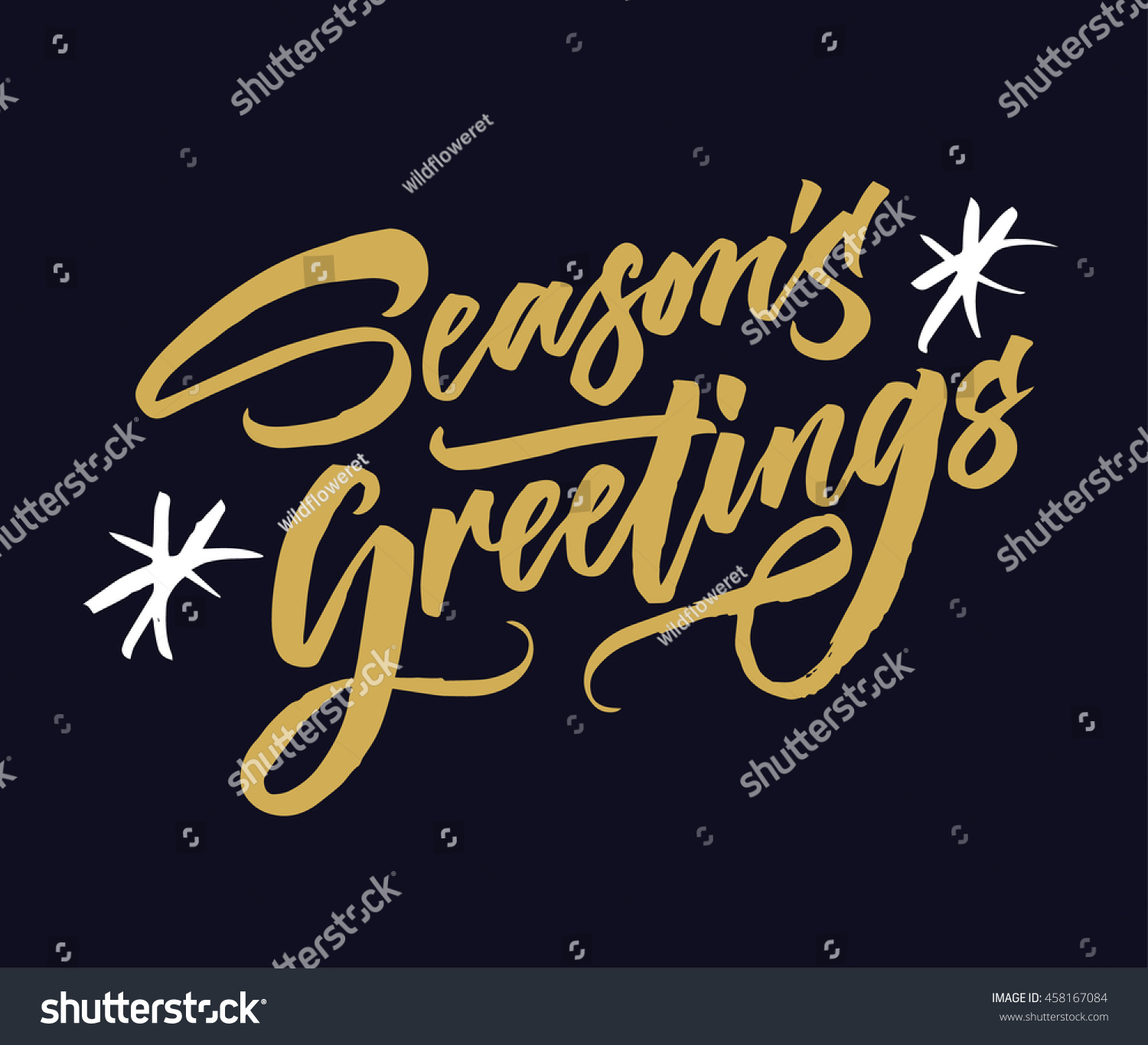 Seasons Greetings Hand Drawn Creative Calligraphy Stock Vector