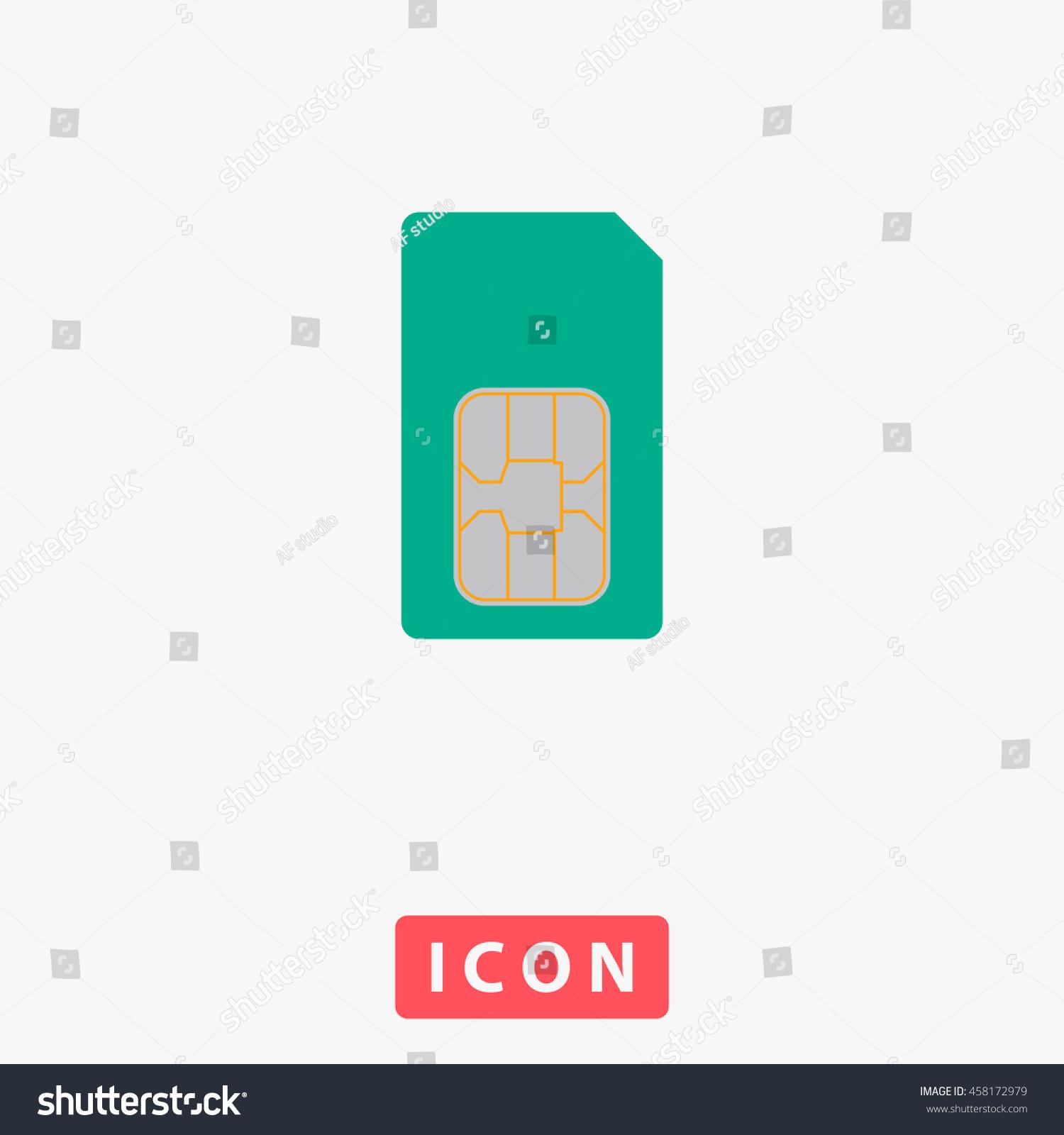 Sim Card White Circle Button On Stock Illustration - Royalty