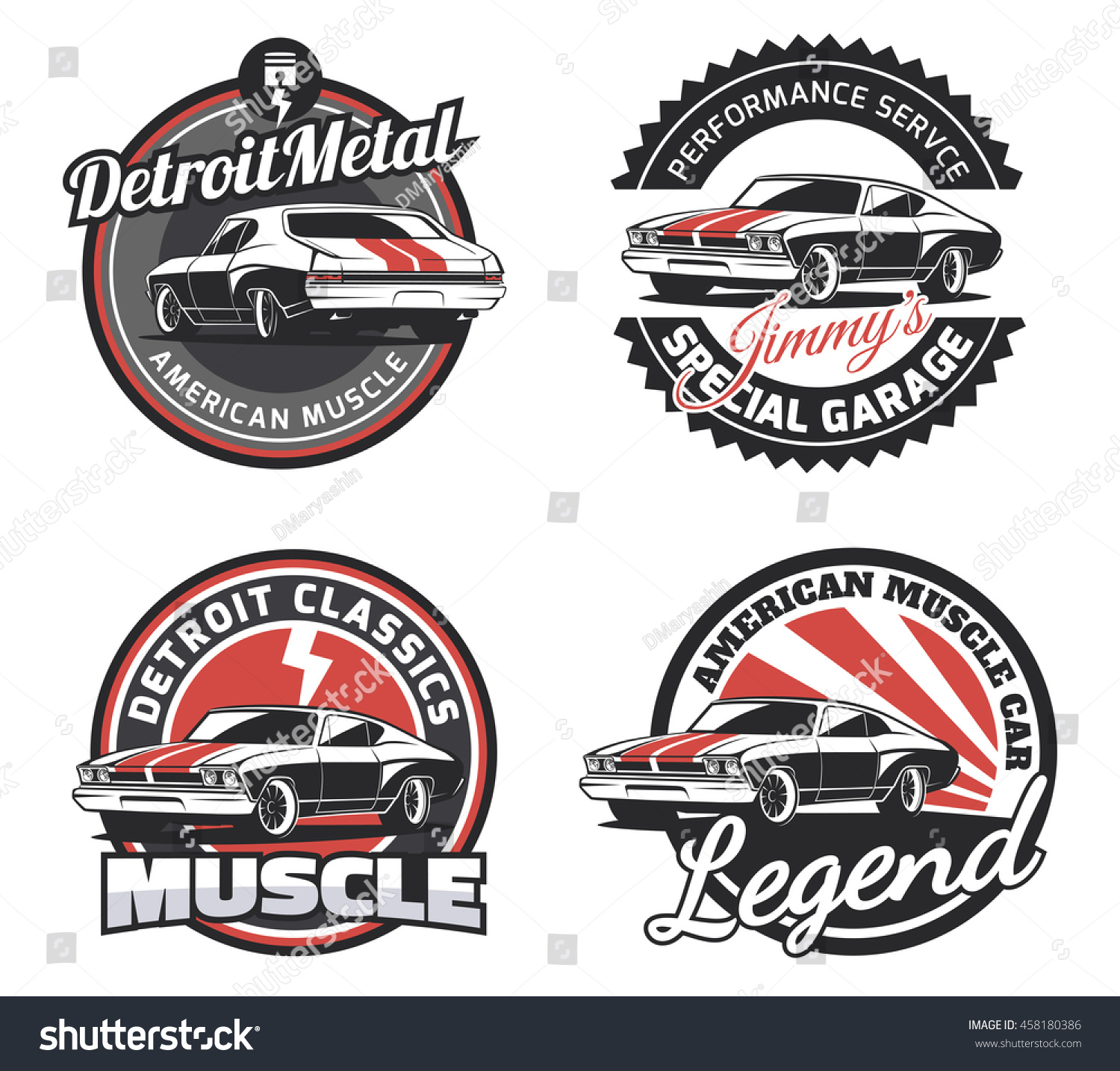 Set Classic Muscle Car Round Emblems Stock Vector 458180386 ...