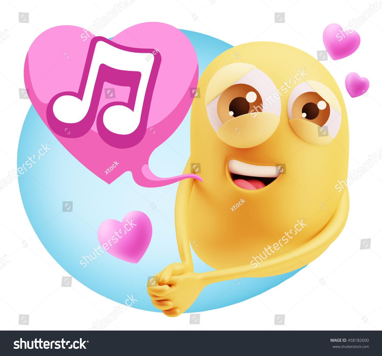3 D Rendering Emoji Saying Music Symbol Stock Illustration 458182600