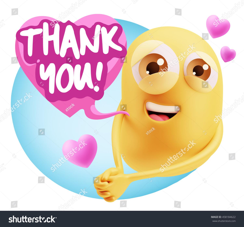 3 d rendering emoji saying thank you stock illustration 458184622
