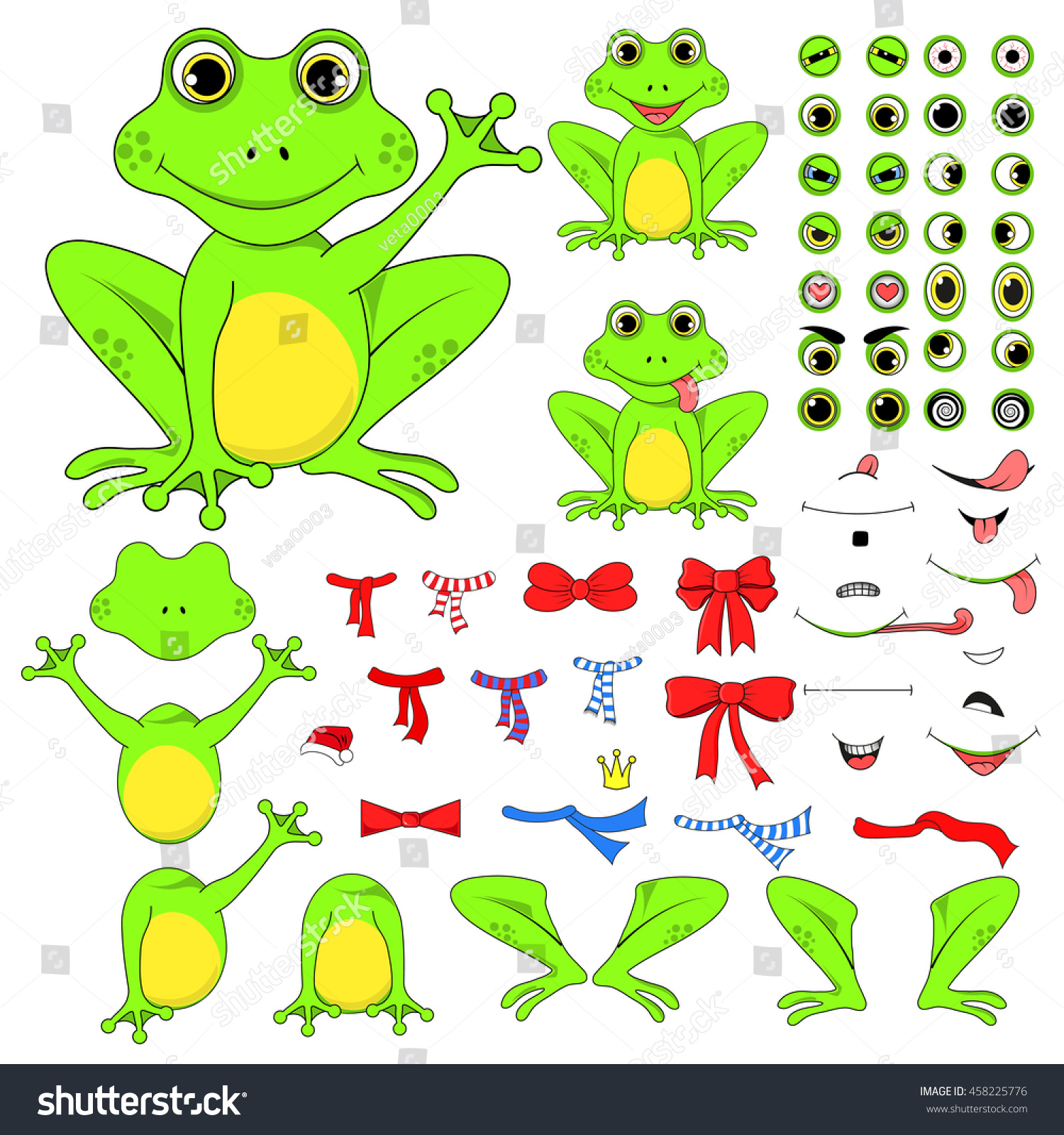 frogs set of body parts in vector eps 10 royalty free cliparts