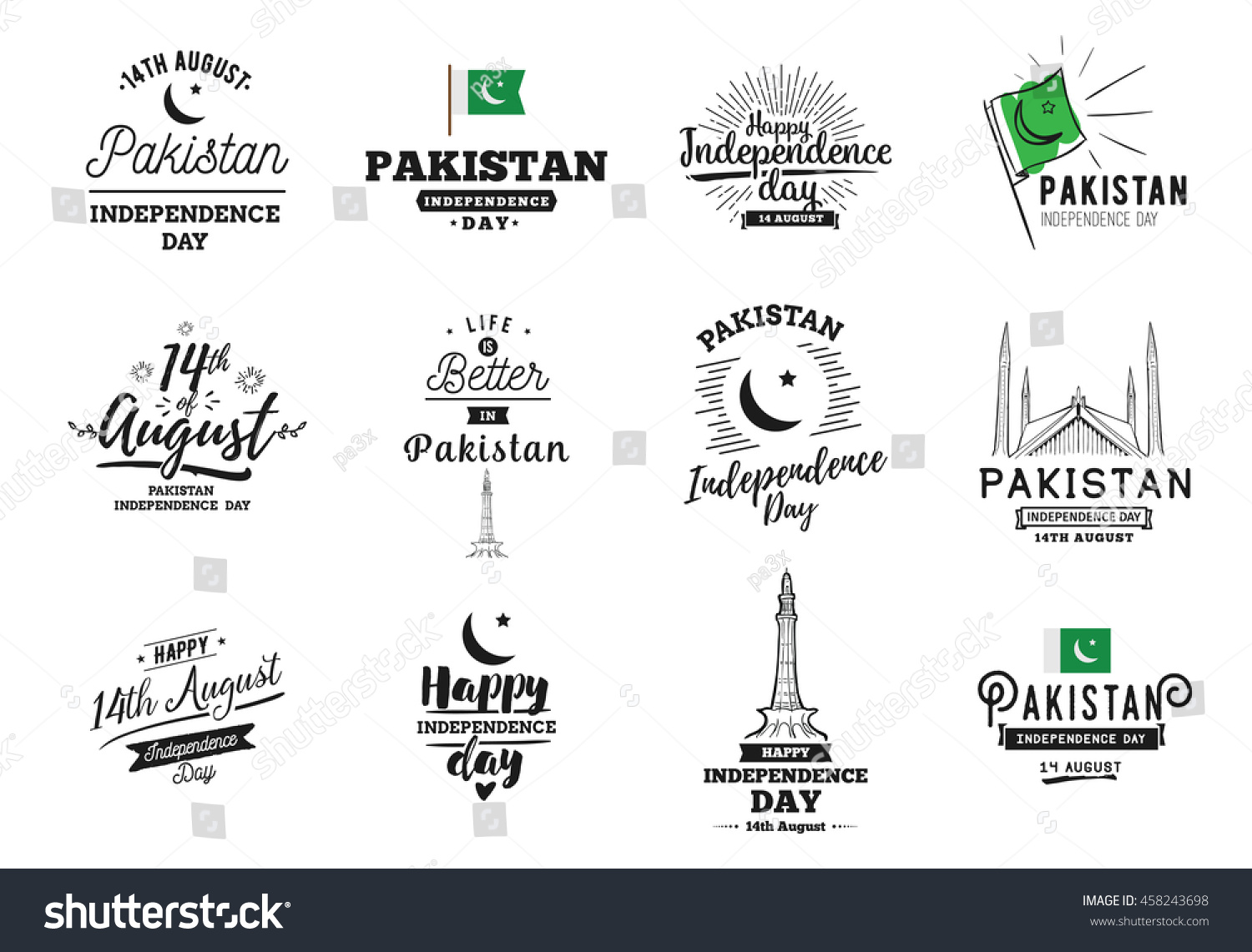 Pakistan Independence day 14th august Vector typographic emblems logo or badges Usable for greeting cards print t-shirts posters and banners