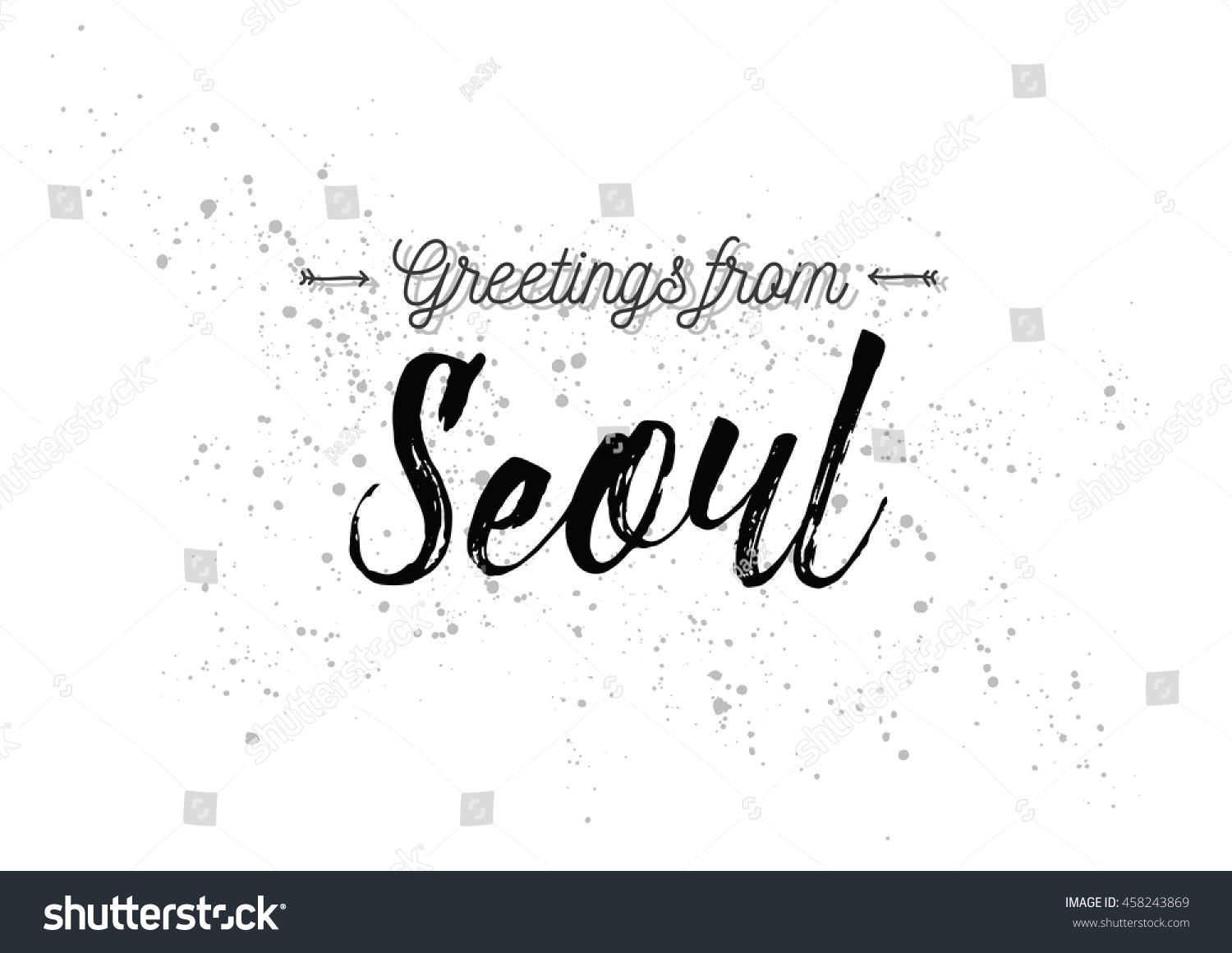 Greetings Seoul South Korea Greeting Card Stock Vector 458243869