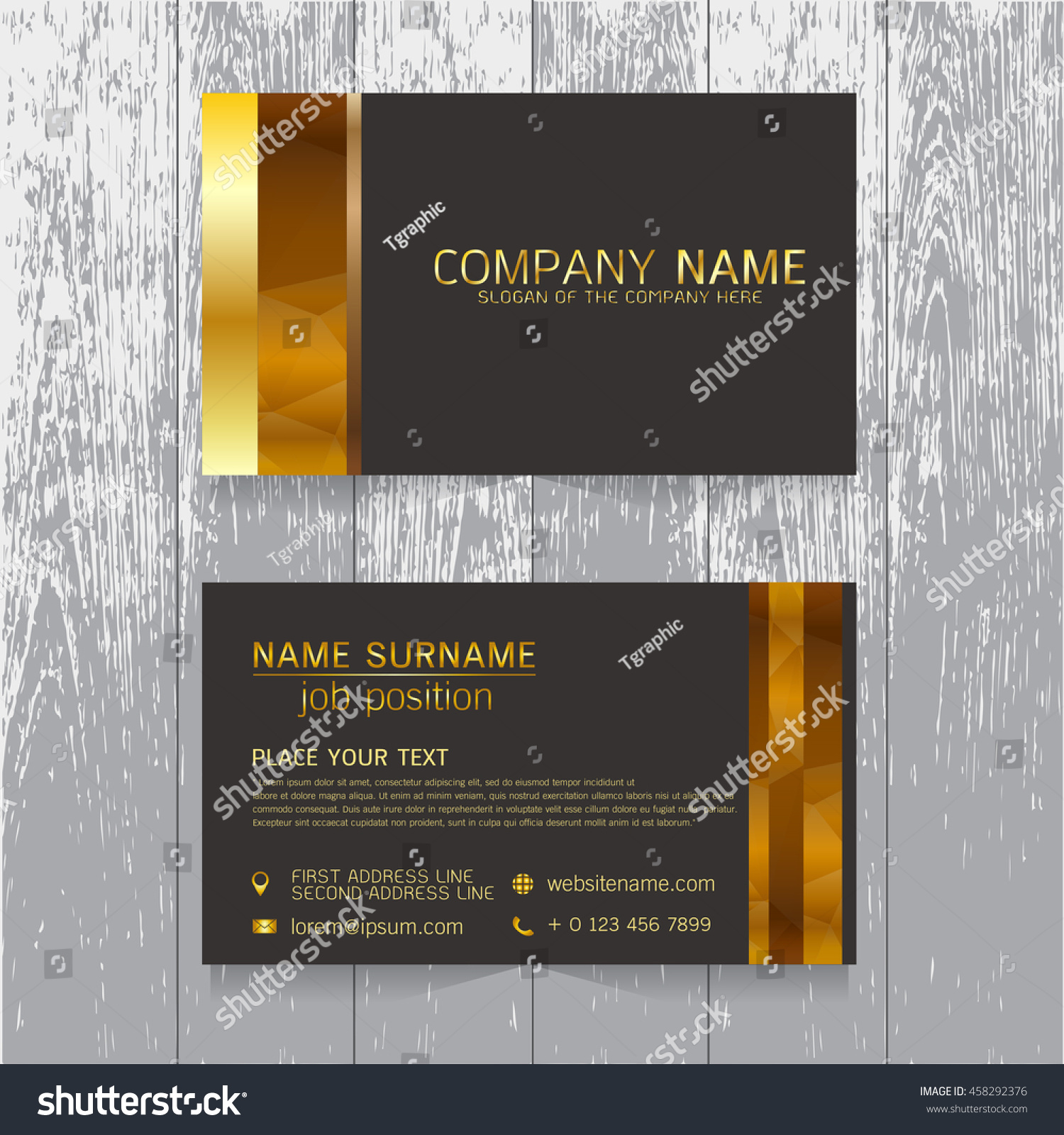 Vector Creative Leaf Business Card Gold Stock Vector 458292376 ...
