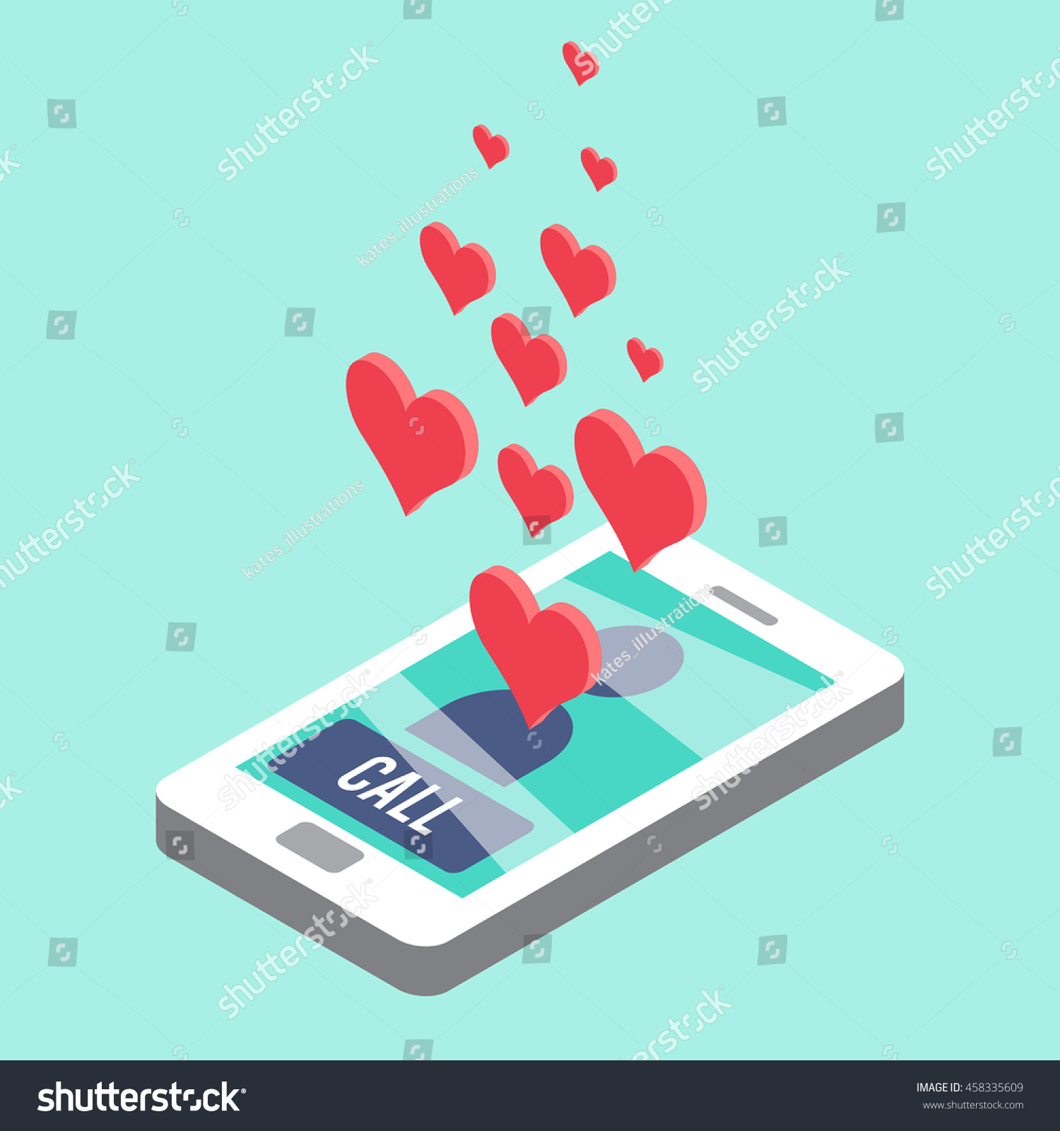 Sweetheart Call Isometric Smartphone Call Notification Stock Vector