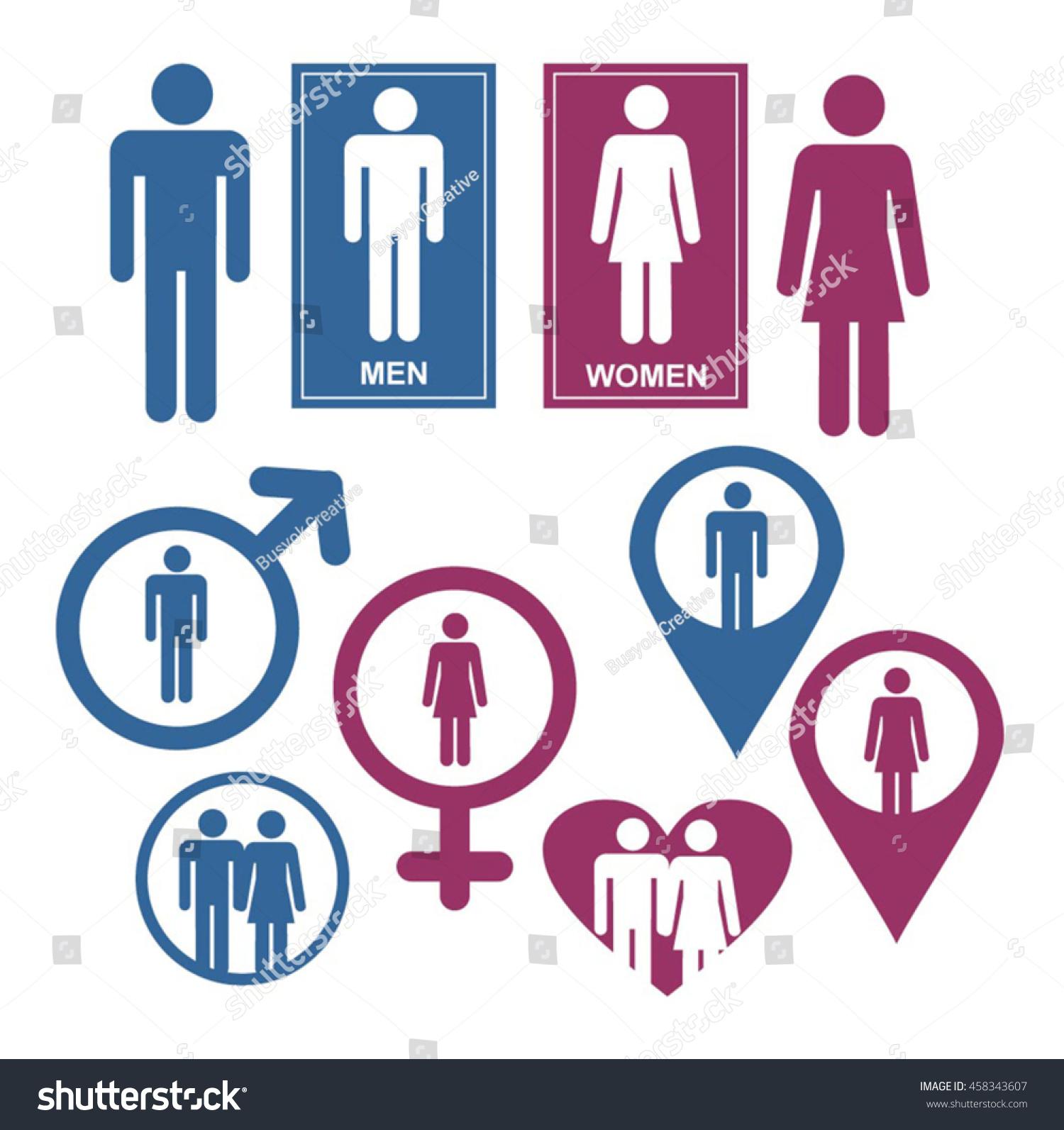 Men and women gender signs and design elements vector set